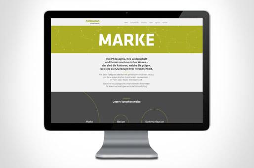 Ansicht Webseite von Carbunus Markenberatung